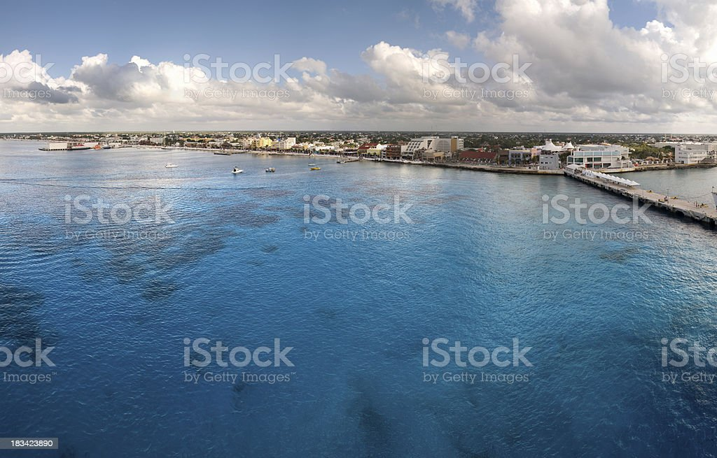 Crystal clear blue water of Cozumel stock photo