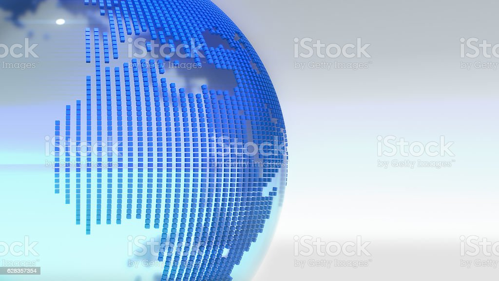 Crystal Clear Globe With World Map.3D rendering. stock photo
