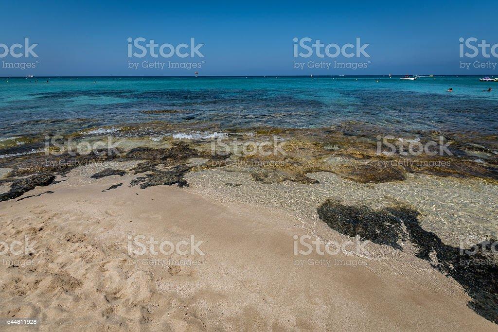 Crystal clear sea in Protaras, Cyprus stock photo