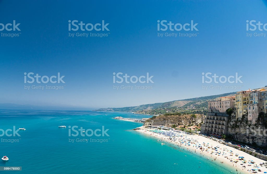 Crystal clear sea near the town of Tropea ,Calabria, Italy stock photo