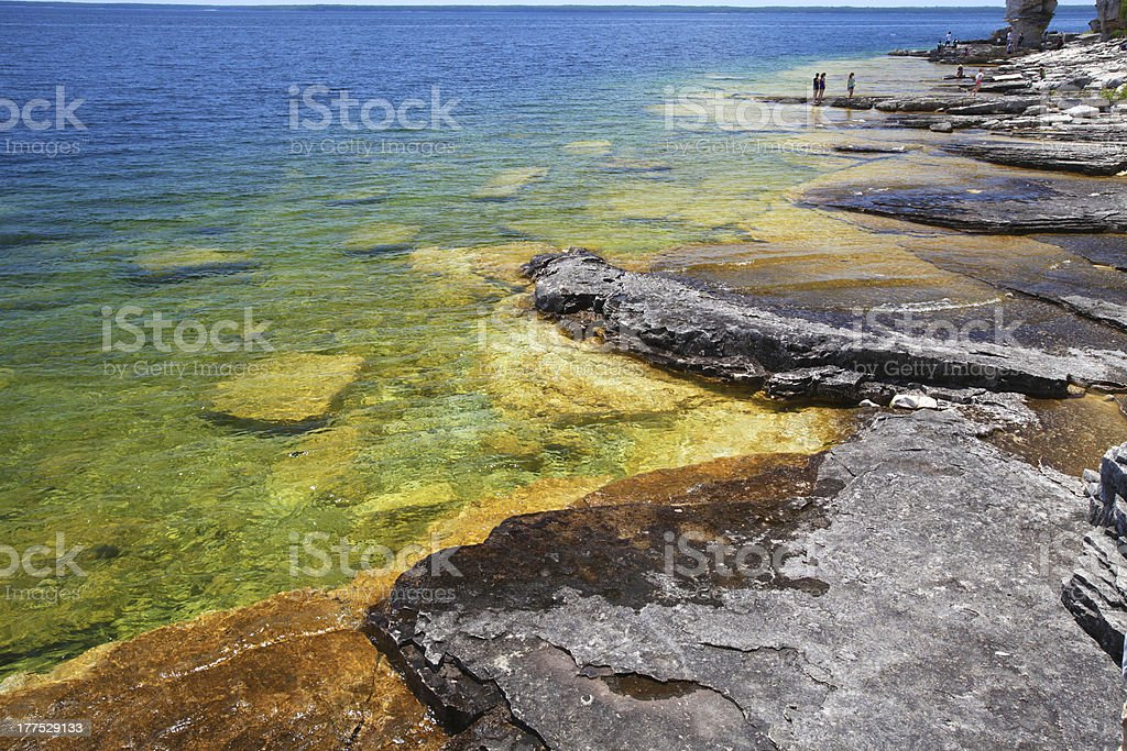 Crystal clear shore in Tobermory, Georgian bay, Ontario, Canada stock photo