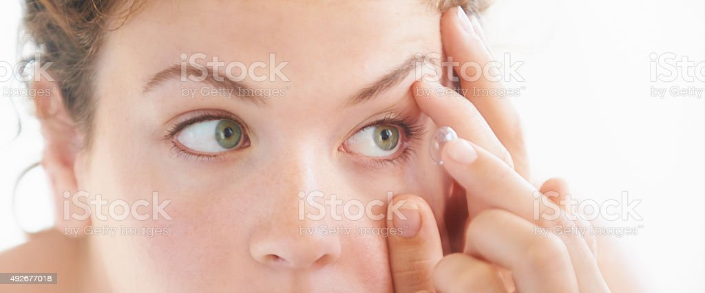 Crystal clear vision thanks to my contact lense stock photo