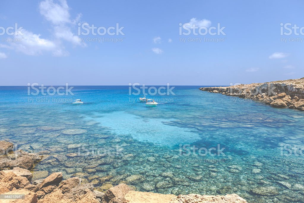 Crystal clear water at Cyprus, Ayia Napa (Blue lagoon) stock photo