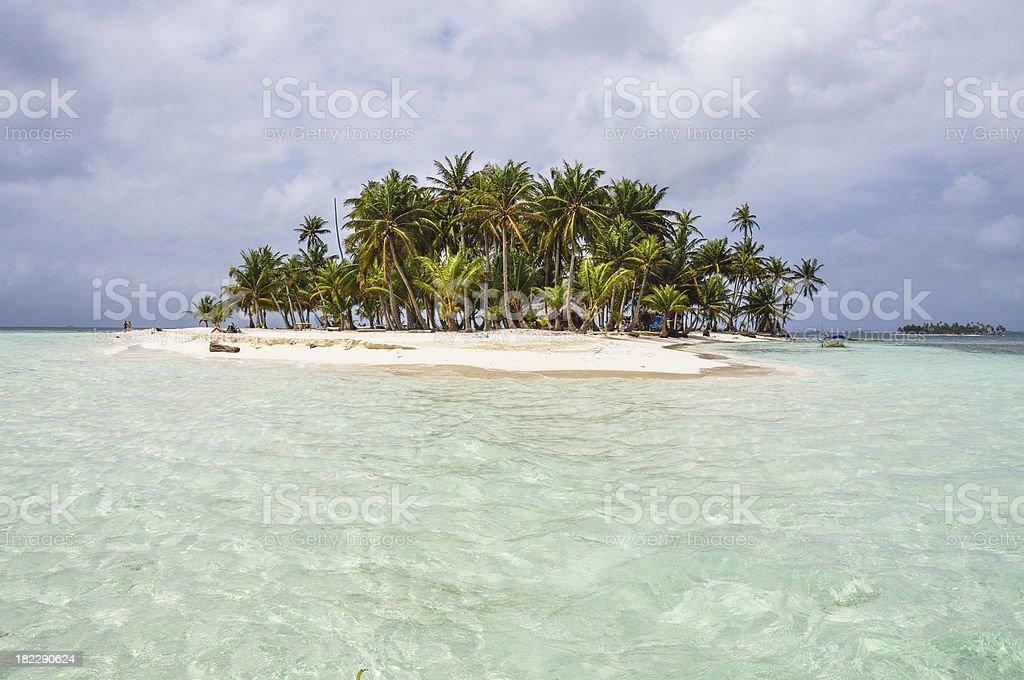Crystal clear water at perfect caribbean island. San Blas, Panama. stock photo