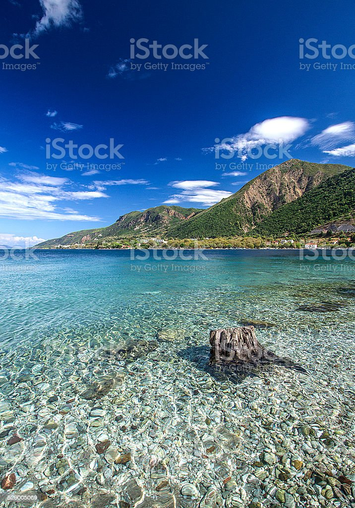 Crystal clear water in Greece stock photo