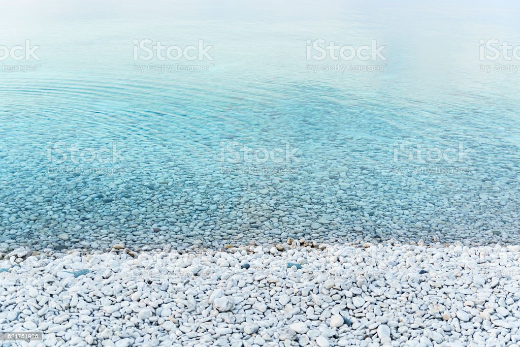 Crystal clear water of the Lake Huron, Tobermory, Ontario, Canada. stock photo