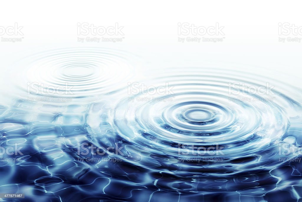 crystal clear water ripples - two perfect concentric circles stock photo