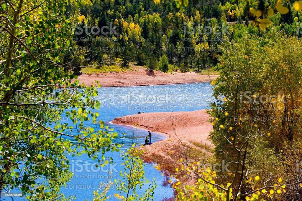 Crystal Creek Autumn Fishing stock photo