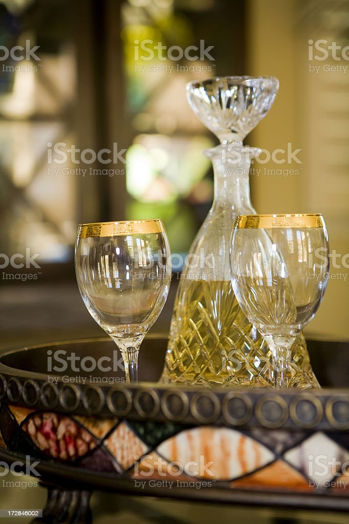 Crystal Decanter and Goblets royalty-free stock photo