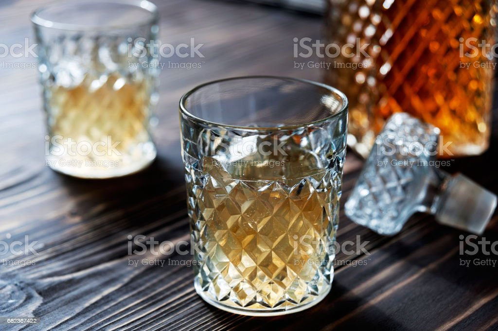 Crystal Decanter. Crystal glasses. Brandy, cognac, whiskey. stock photo