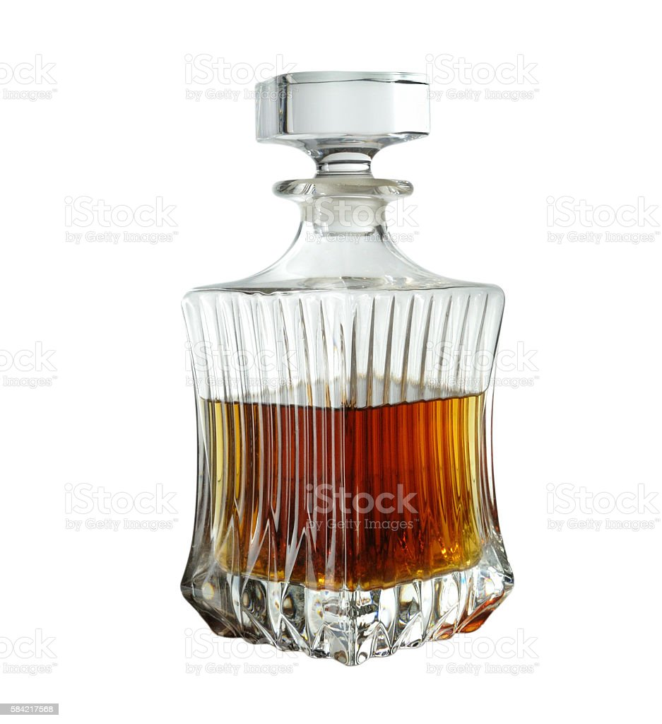 crystal decanter of whiskey. photo isolated on white background stock photo