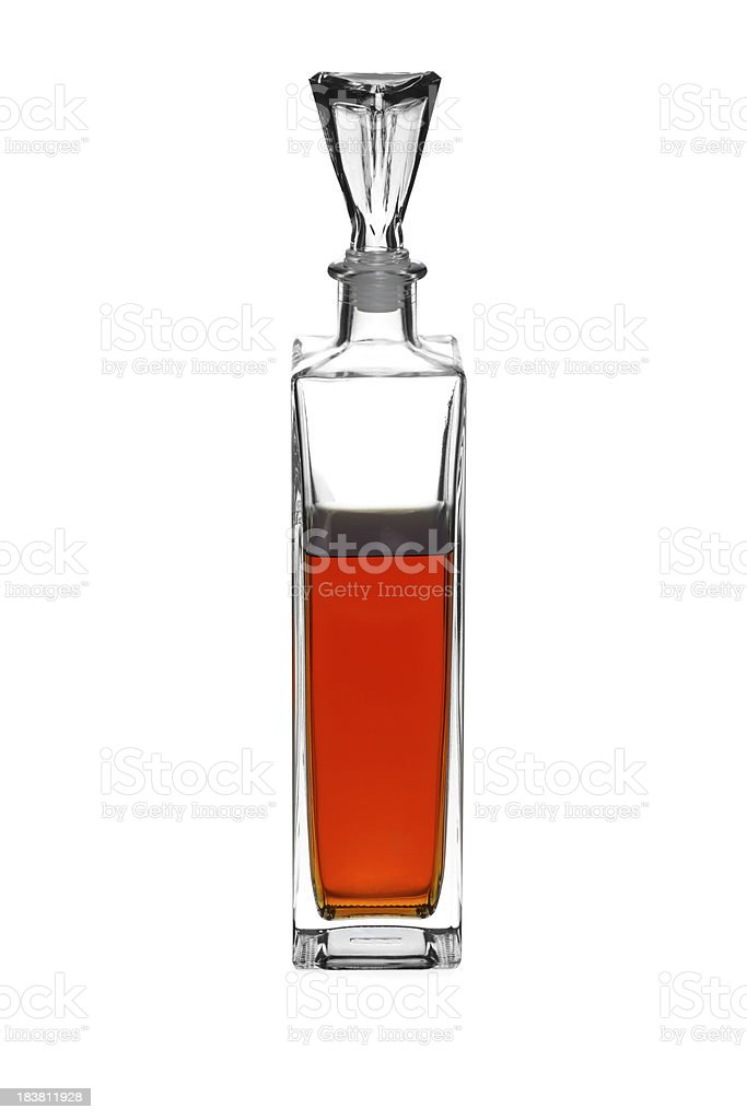 Crystal decanter with alcohol inside. royalty-free stock photo