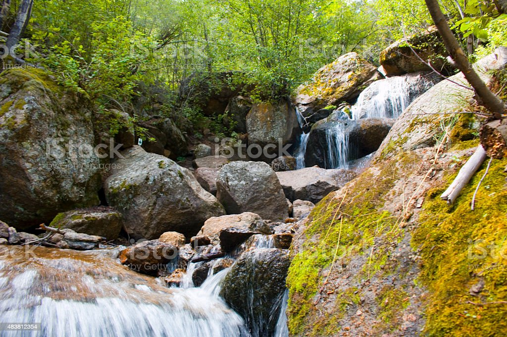Crystal Falls in the Pike National Forest stock photo