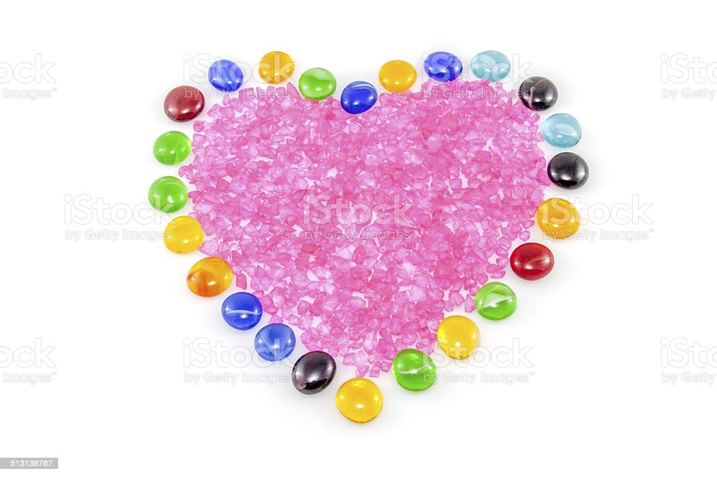 Crystal filled heart stock photo