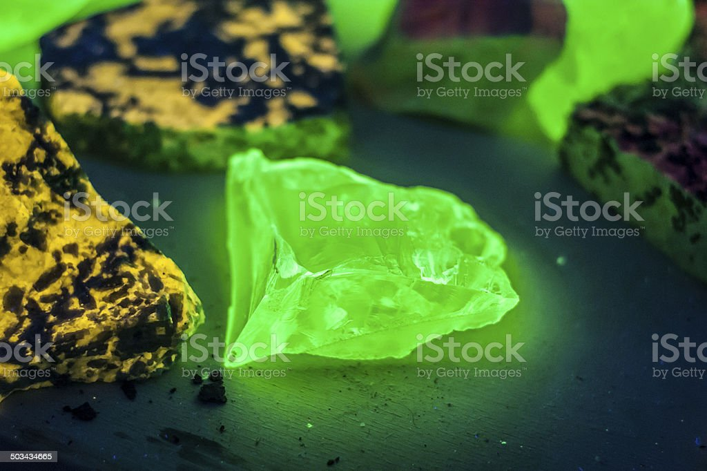 crystal fluorescent under ultraviolet light stock photo