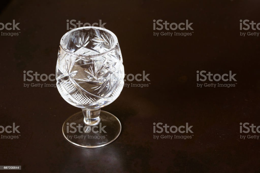 Crystal glass  on a dark background stock photo