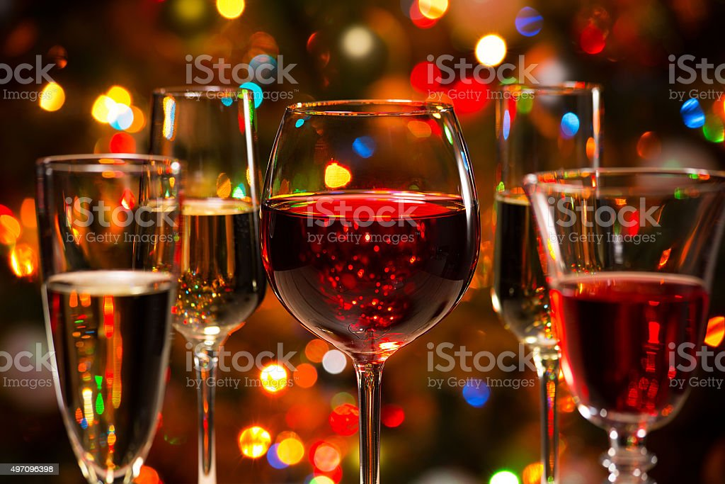 Crystal glasses of wine stock photo