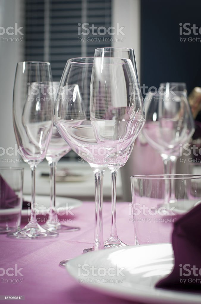 Crystal glasses on  a desk royalty-free stock photo
