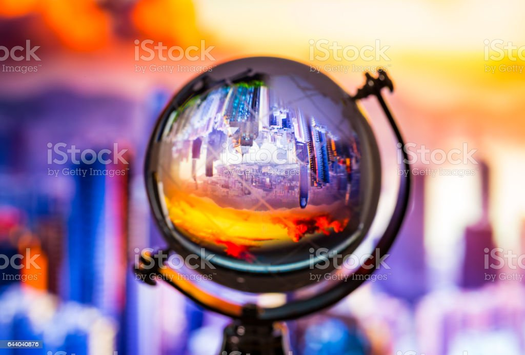 Crystal globe reflection stock photo