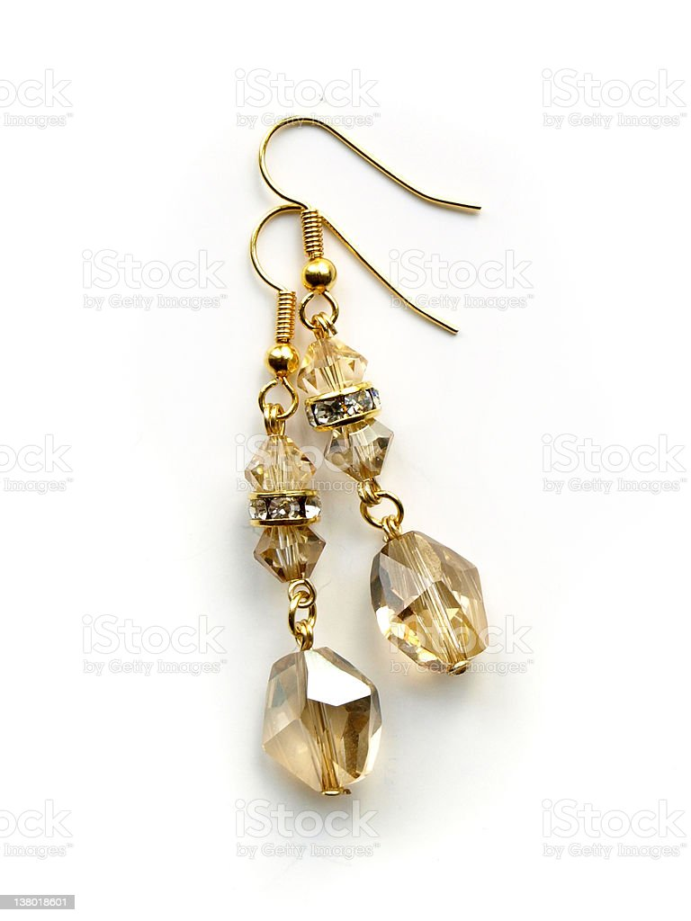 Crystal golden shadow gold earrings stock photo