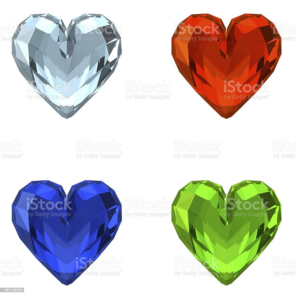 3D Crystal Hearts royalty-free stock photo