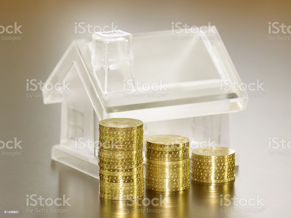 Crystal house and money royalty-free stock photo