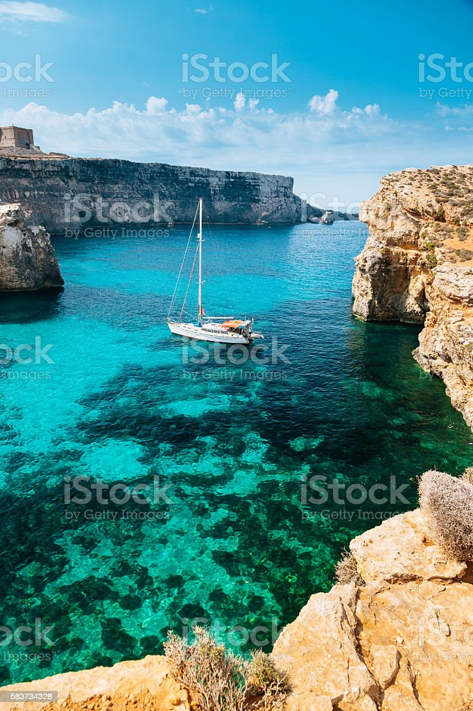 Crystal lagoon, Comino - Malta stock photo