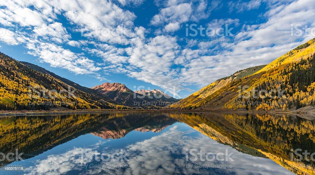 Crystal Lake Fall Foliage Reflection stock photo