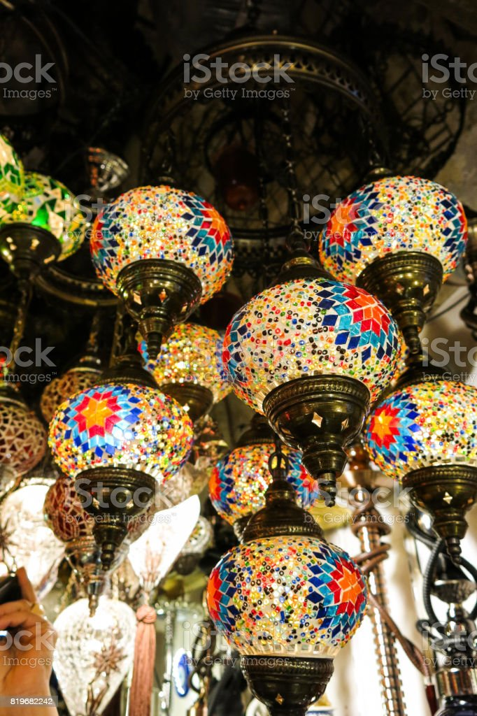 Crystal lamps for sale on the Grand Bazaar at Istanbul stock photo