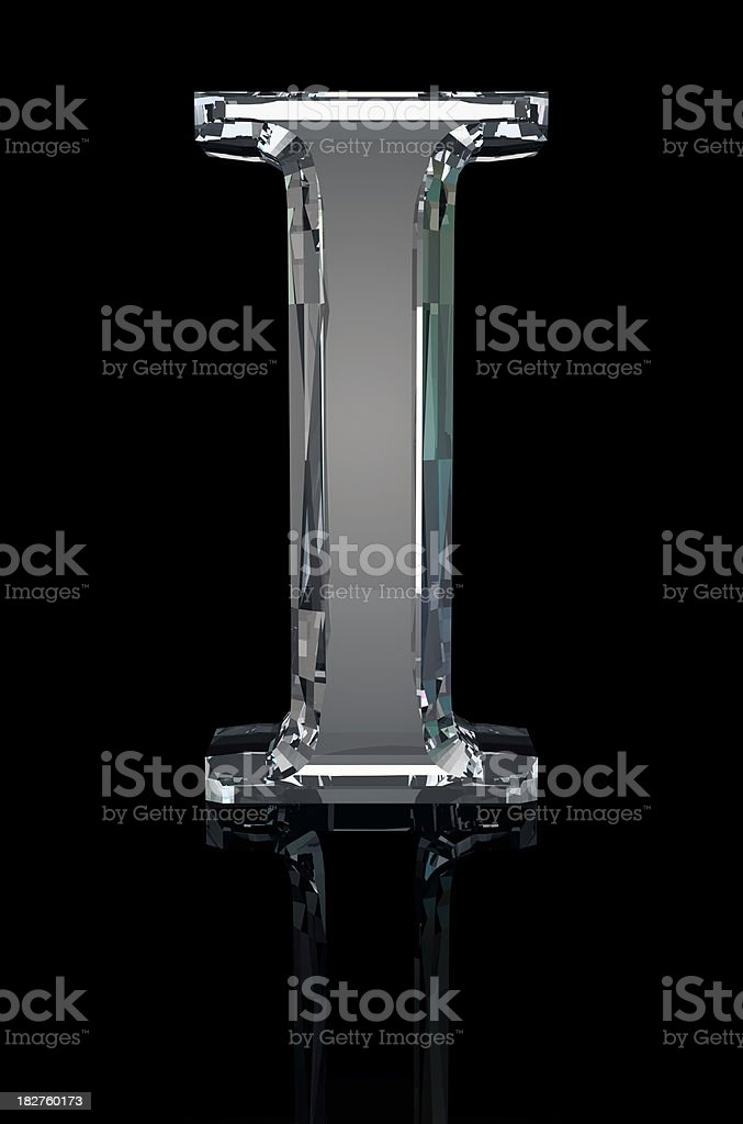 Crystal Letter I stock photo