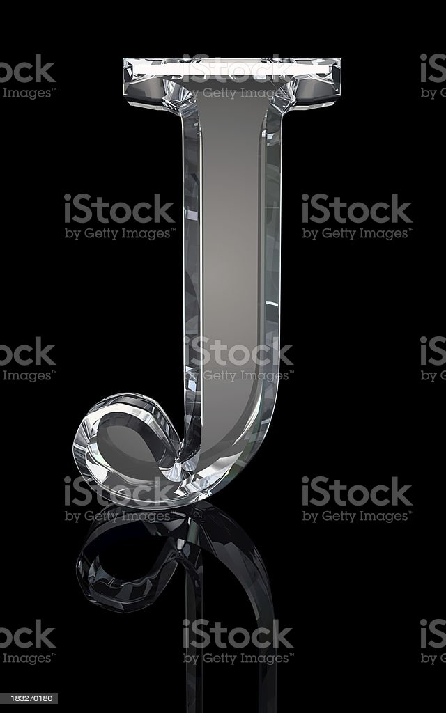 Crystal Letter J stock photo