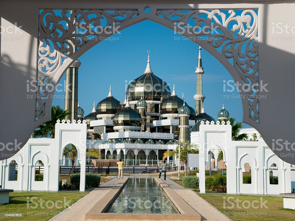 Crystal mosque view from the front gate stock photo