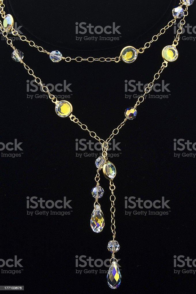 Crystal Necklace on Black stock photo