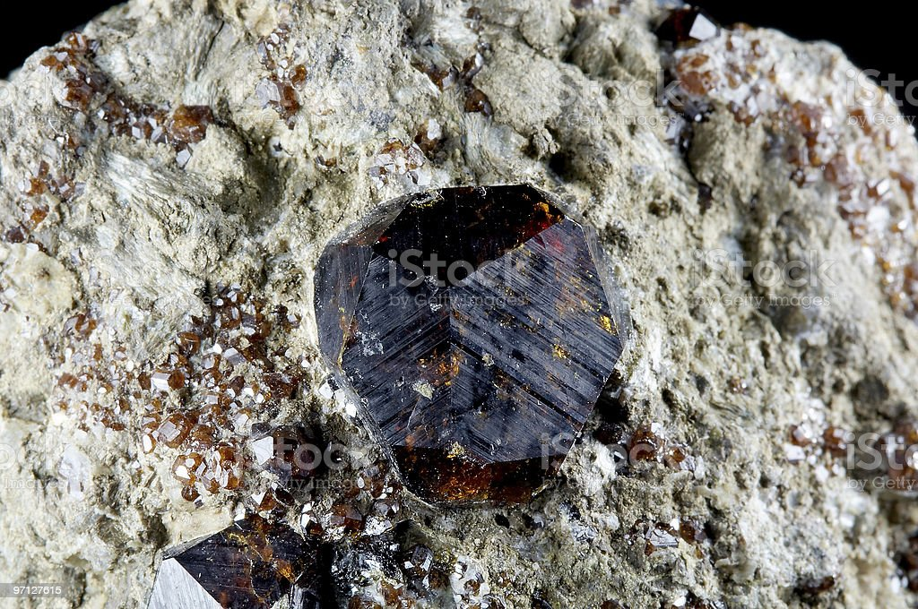 Crystal of garnet stock photo