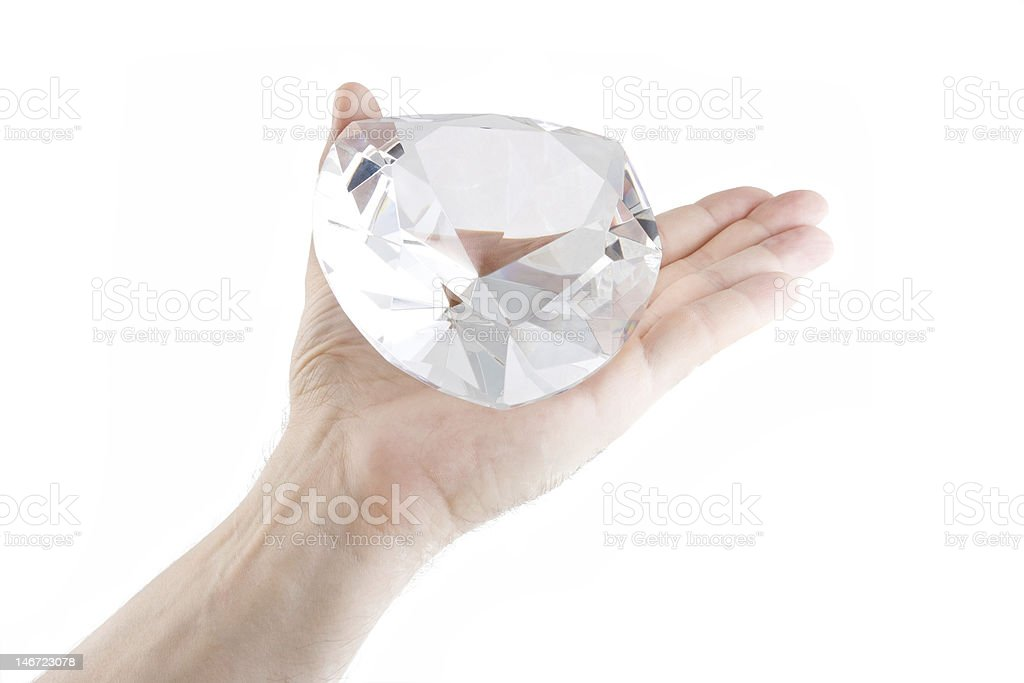 Crystal on an the open palm stock photo