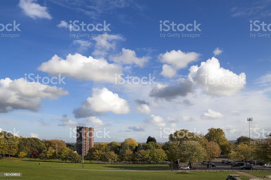 Crystal Palace sports stadium and view over to Kent stock photo