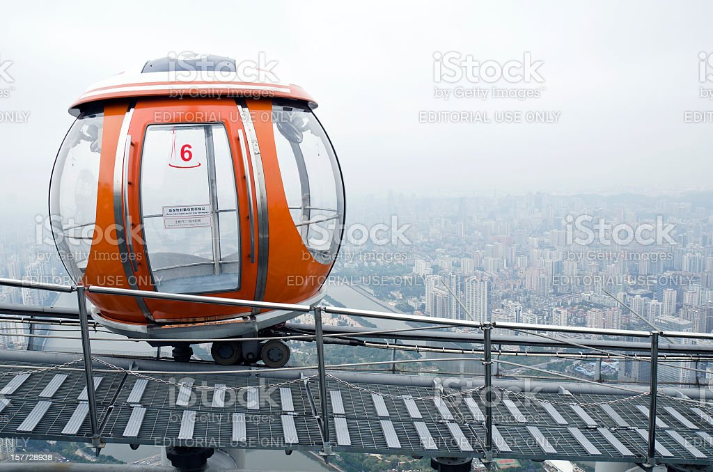 Crystal Passenger Car on Canton Tower Roof stock photo