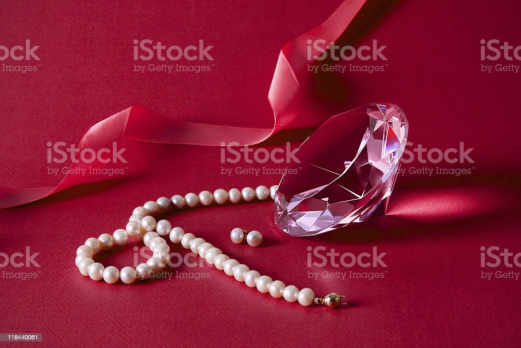 Crystal, pearl earrings and necklace stock photo