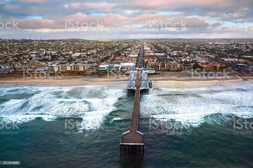 Crystal Pier on Pacific Beach - San Diego California stock photo