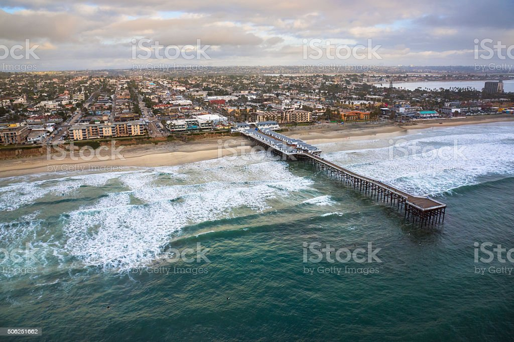 Crystal Pier, Pacific Beach, California stock photo