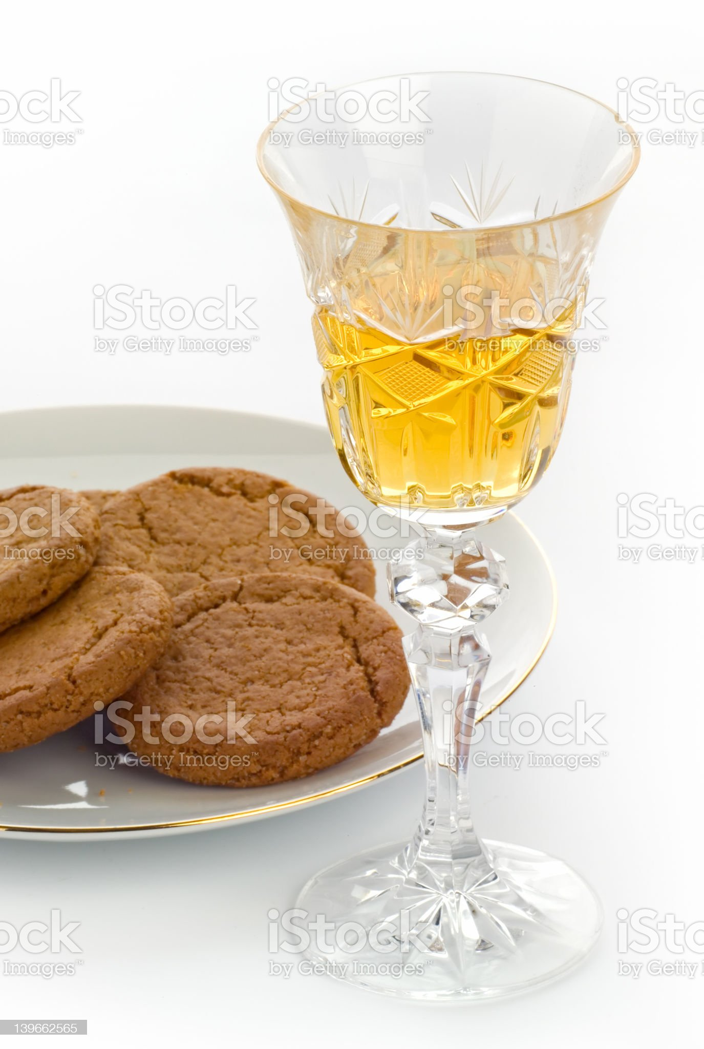 Crystal sherry glass with biscuits royalty-free stock photo