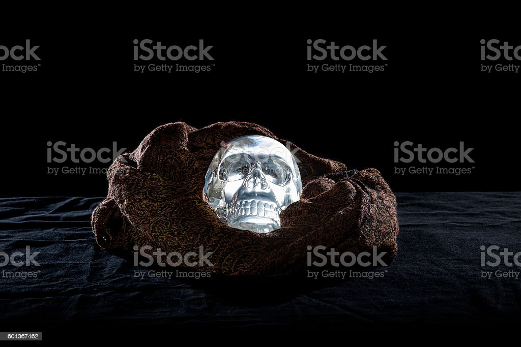 Crystal Skull on a Black Background stock photo