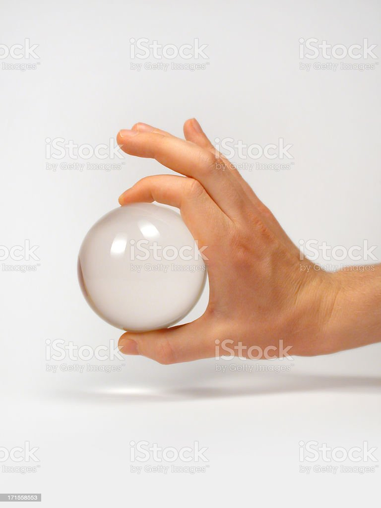Crystal sphere and hand 3 royalty-free stock photo