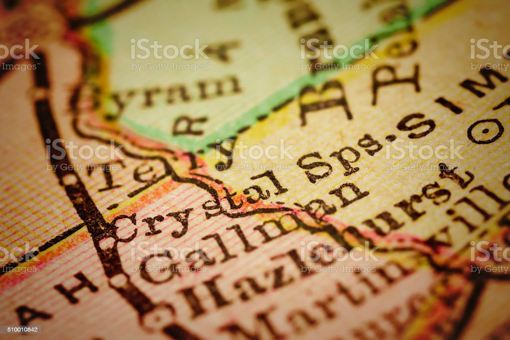 Crystal Springs, Mississippi on an Antique map stock photo