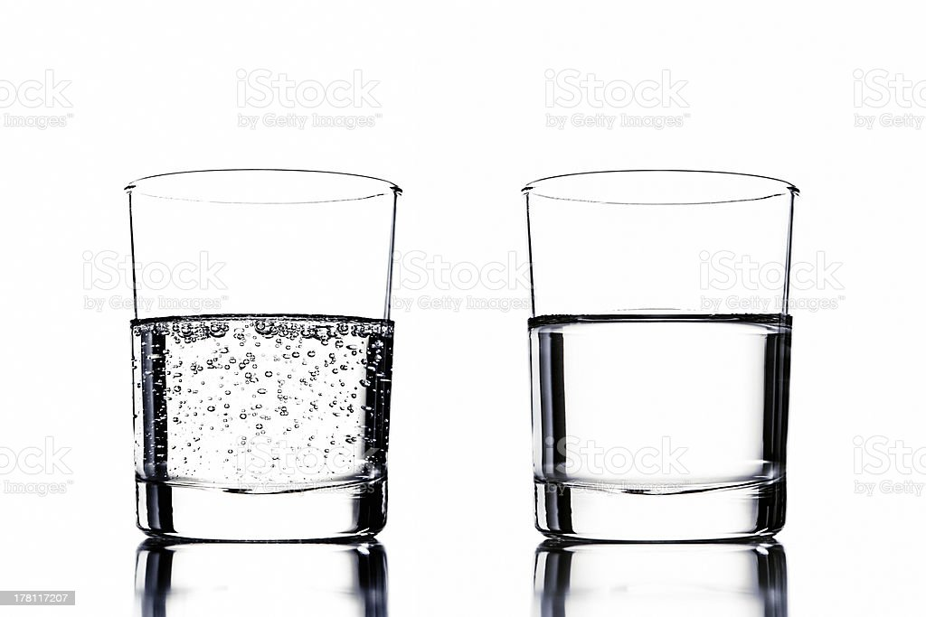 crystal water versus sparkling stock photo