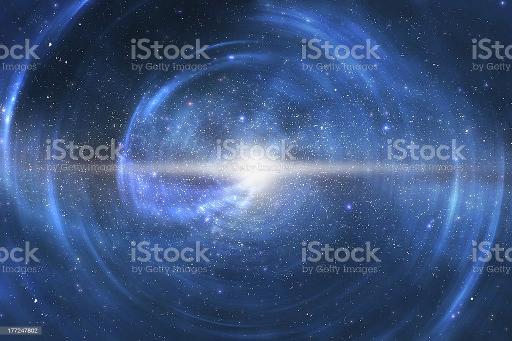 Crystal white star in bright blue space exploding stock photo