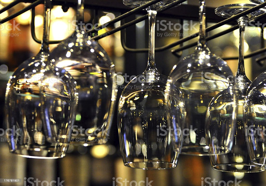 Crystal Wine Glass Hanging On A Rack royalty-free stock photo