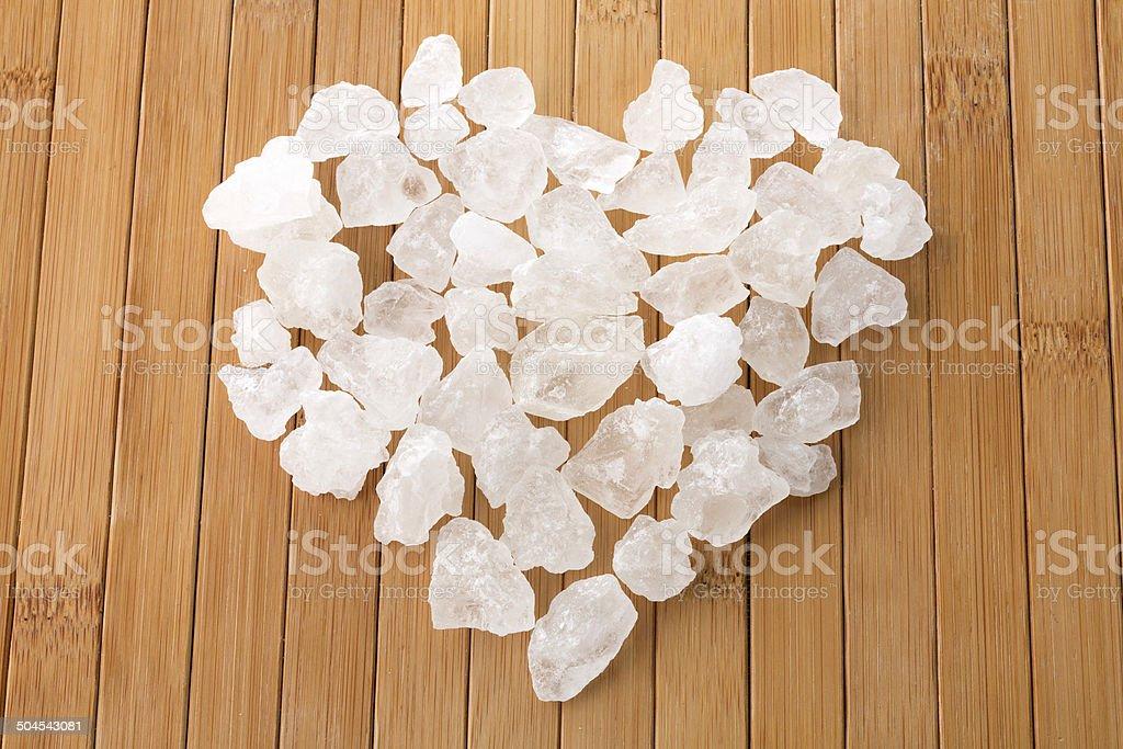 Crystalline sugar group in heart shape stock photo