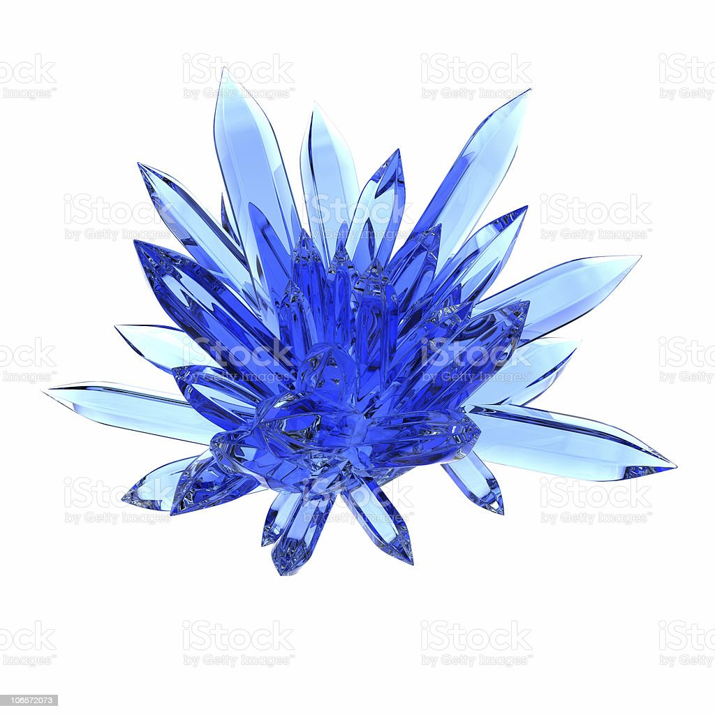 A crystallized blue rock on a white background stock photo