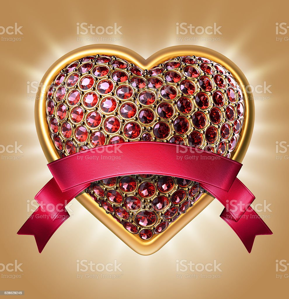 crystallized ruby heart with red ribbon tag, isolated object stock photo